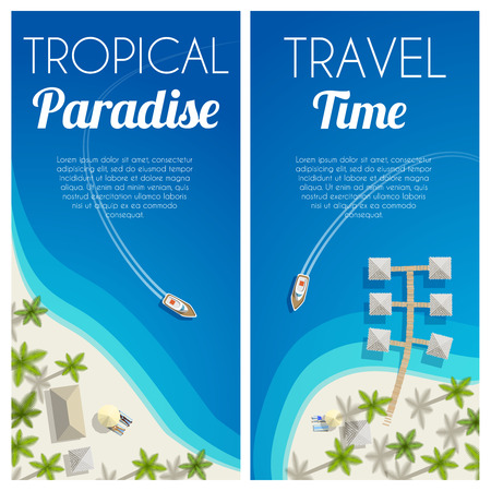 Sunny summer beach vertical banners with palms and bungalows. Vector illustration, .