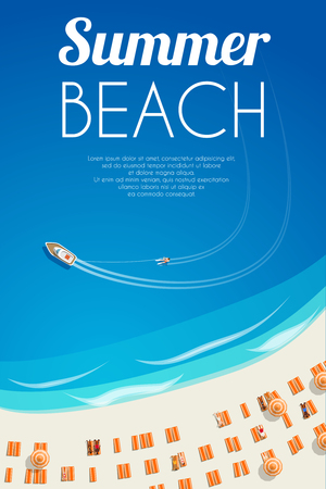 Sunny summer beach background with beach chairs and people. Vector illustration, .
