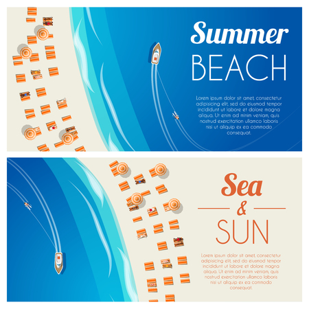 Sunny summer beach horizontal banners with beach chairs and people. Vector illustration, eps10.