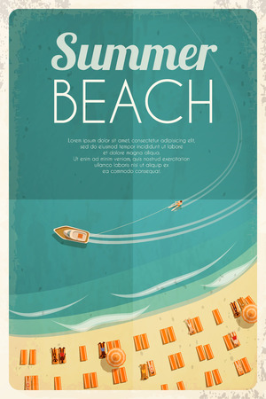 Summer retro beach background with beach chairs and people. Vector illustration, eps10. Stock Illustratie