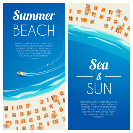 sunny beach: Sunny summer beach vertical banners with beach chairs and people. Vector illustration, eps10.