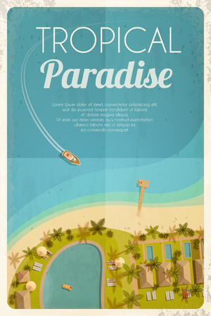 motorboat: Summer retro background with tropical hotel and motorboat. Vector illustration, .