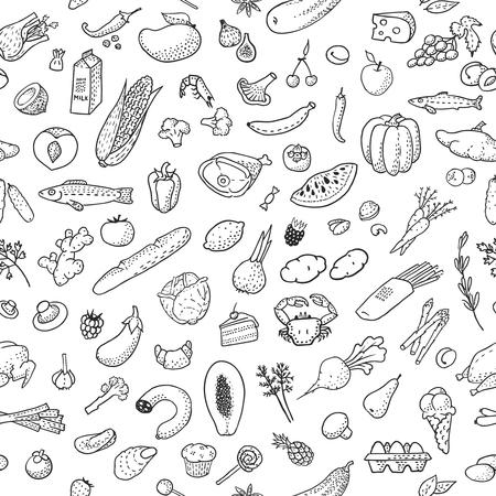 De fondo sin fisuras con los alimentos dibujados a mano, en blanco y negro. Ilustración del vector, eps10. Ilustración de vector