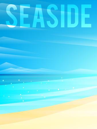 oceanside: Light simplified seaside background with sand and clouds. Vector illustration, eps10.