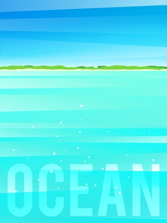 Light simplified ocean background with tropical island. Vector illustration, eps10.