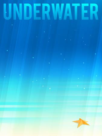 underwater light: Light simplified underwater background with starfish. Vector illustration, Illustration