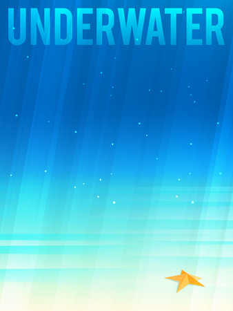 Light simplified underwater background with starfish. Vector illustration, Illustration