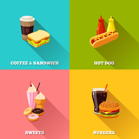 drink food: fast food colorful flat design set. Vector illustration, . Illustration
