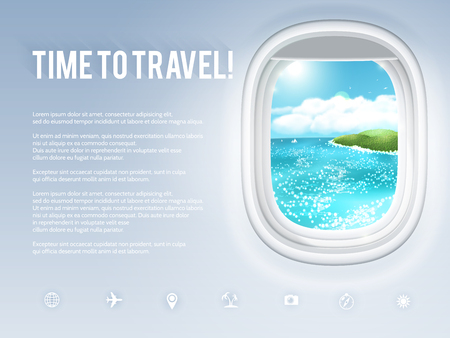 Design template with aircraft porthole and tropical landscape in it. Vector illustration, eps10. Vettoriali
