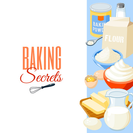Background with cartoon food: baking ingredients - flour, eggs, butter, salt, whipped cream, baking powder, milk. Vector illustration, isolated on white, eps 10.  イラスト・ベクター素材