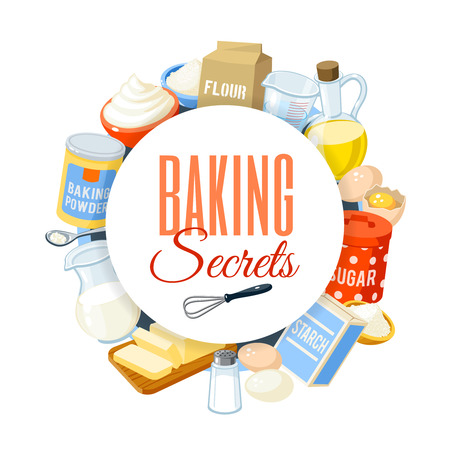harina: etiqueta para hornear con harina, huevos, aceite, agua, mantequilla, almidón, sal, crema batida, el polvo de hornear, la leche, el azúcar. ilustración vectorial, aislado en blanco, eps 10.