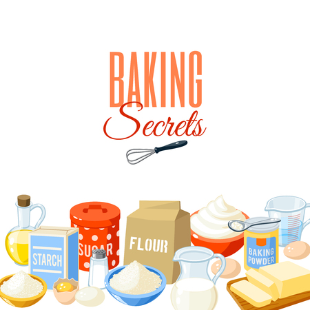 Background with cartoon food: baking ingredients - flour, eggs, oil, water, butter, starch, salt, whipped cream, baking powder, milk, sugar. Vector illustration, isolated on white, eps 10.