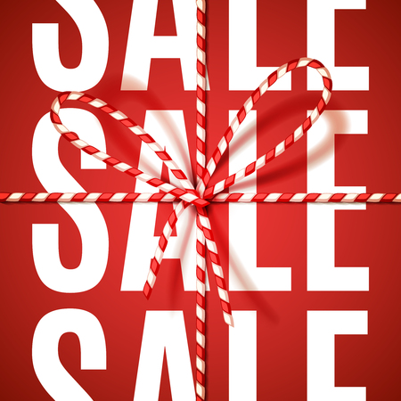 tied: Sale sign in Christmas colors, tied as a gift with bow-knot of red and white twisted cord. Vector illustration, . Illustration