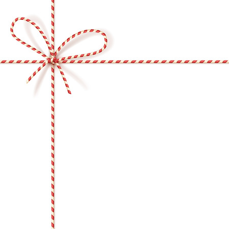 Isolated on white christmas gift tying: bow-knot of red and white twisted cord. Vector illustration, .