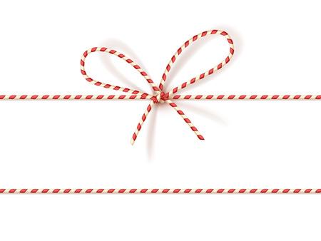 Geïsoleerd op een witte kerst cadeau koppelverkoop: bow-knot van rood en wit gedraaide snoer. Vector illustratie,.