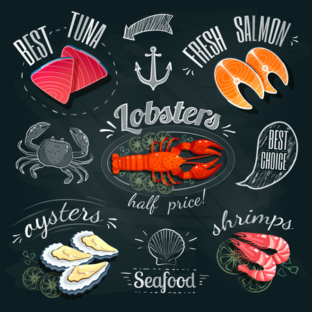 Chalkboard seafood ADs - tuna, salmon, lobster, oysters and shrimps. Vector illustration,