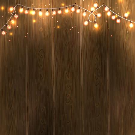 Światła: Christmas & New Year design: wooden background with christmas lights garland. Vector illustration,