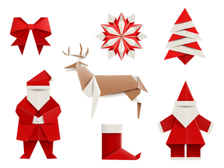 Realistic origami, Christmas set: Santa, deer, christmas tree, snowflake and so. Vector illustration, , isolated on white. Vettoriali