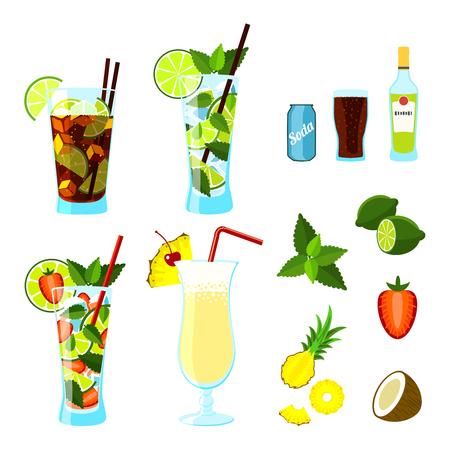 colada: Cocktails and ingredients set: Cuba Libre, Mojito, Strawberry Mojito and Pina Colada. Vector illustration, .