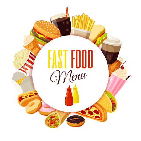 """Fast food menu"" label with hamburger, french fries, coffee, sandwich, popcorn, ice cream, pizza, taco and so. Vector illustration, isolated on white,"
