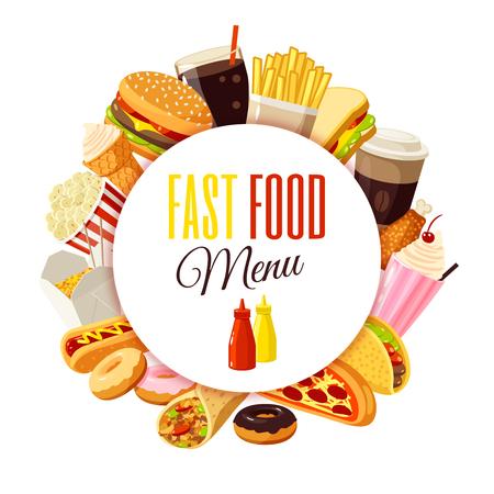 """comida rapida: """"Menú de comida rápida"""" etiqueta con hamburguesas, patatas fritas, café, sándwich, palomitas, helados, pizza, tacos y así. ilustración vectorial, aislado en blanco,"""