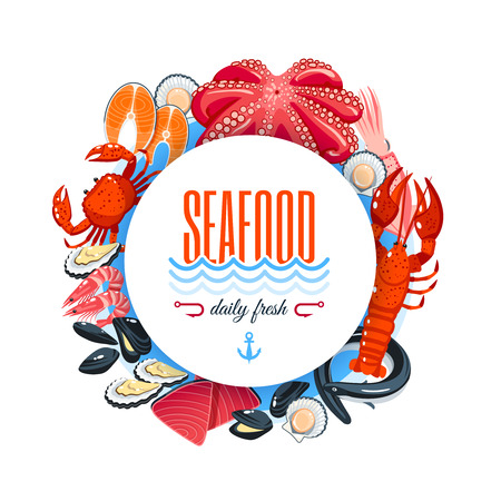 Sea food label with tuna, salmon, clams, crab, lobster and so. Vector illustration, isolated on
