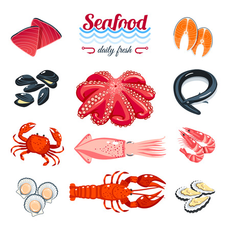 camaron: Conjunto de productos del mar de dibujos animados - atún, salmón, almejas, cangrejos, langostas y así. ilustración vectorial, aislado en blanco,