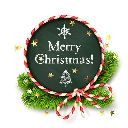 Kerstmis design, realistisch rood en wit gedraaide koord frame met bow-knoop, bord, nieuwe jaar boom decoratie en ster vormen confetti. Vector illustratie, geïsoleerd op wit,