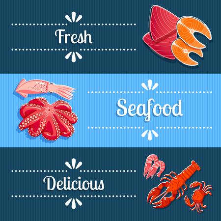 cangrejo caricatura: Conjunto de 3 banners horizontales de marisco con langosta, camarones, at�n, salm�n y as�. Ilustraci�n del vector,