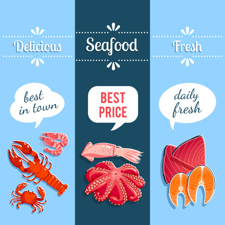 salmon: Set of 3 vertical seafood banners with lobster, shrimps, tuna, salmon and so. Vector illustration, . Illustration