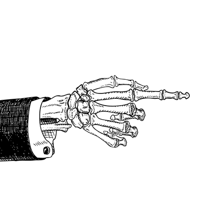 cartoon party: Scary skeleton hand pointing, hand-drawn sketch, black and white, isolated on white. Vector illustration, .