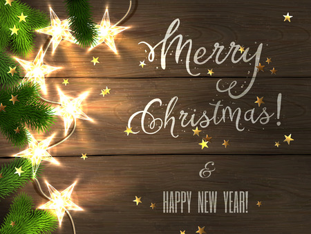 bright card: Christmas design - Merry Christmas and Happy New Year. Xmas greeting with christmas tree, star-shaped golden confetti and christmas star-lights on wooden background. Vector illustration, eps10.