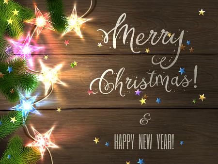 Christmas design - Prettige Kerstdagen en Gelukkig Nieuwjaar. Xmas begroeting met kerstboom, stervormige confetti en kleurrijke kerst ster-lampjes op houten achtergrond. Vector illustratie,.