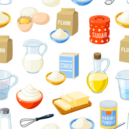 Seamless pattern with cartoon baking ingredients - flour, eggs, oil, water, butter, starch, salt, whipped cream, baking powder, milk, sugar. Vector illustration, isolated on white, eps 10.