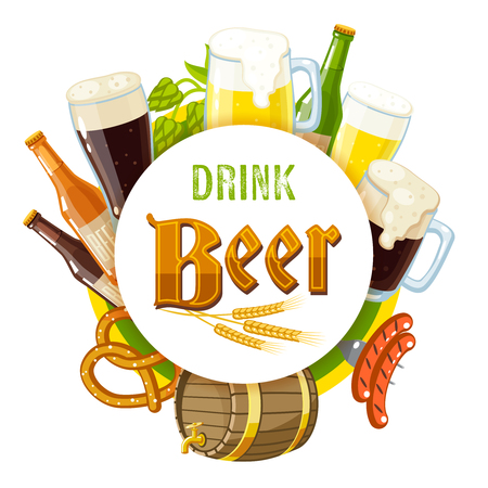 barley hop: Drink beer label with light and dark beer, mugs, bottles, hop cones, barley, beer keg, pretzel and sausages. Vector illustration, isolated on transparent background, eps 10.