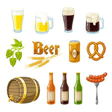 barley hop: Set of cartoon beer: light and dark beer, mugs, bottles, hop cones, barley, beer keg, pretzel and sausages. Vector illustration, isolated on white, eps 10.