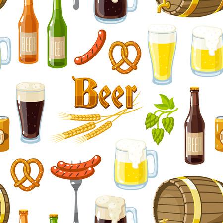 barrel tile: Seamless background pattern with cartoon beer stuff: light and dark beer, mugs, bottles, hop cones, barley, beer keg, pretzel and sausages. Vector illustration, isolated on white.