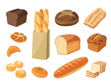 漫画食品のセット: パン ・ ライ麦パン、チャバタ、小麦パン、全粒パン、ベーグル、薄切りパン、フランスパン、クロワッサンなど。ベクトル図で