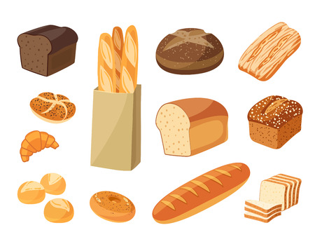 Set of cartoon food: bread - rye bread, ciabatta, wheat bread, whole grain bread, bagel, sliced bread, french baguette, croissant and so. Vector illustration, isolated on white, eps 10. Çizim