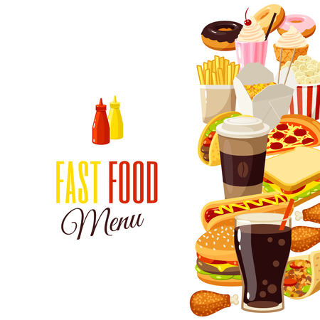 comida chatarra: Fondo con los alimentos de dibujos animados: hamburguesa, papas fritas, café, sándwich, palomitas, helados, pizza, tacos. Ilustración vectorial, aislado en el fondo transparente,