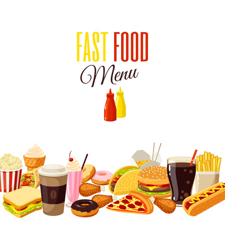 Background with cartoon food: hamburger, french fries, coffee, sandwich, popcorn, ice cream, pizza, taco. Vector illustration, isolated on transparent background,  イラスト・ベクター素材