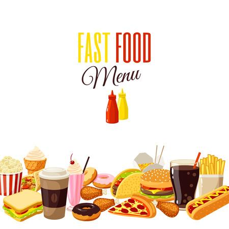 漫画食物と一緒に背景: ハンバーガー、フライド ポテト、コーヒー、サンドイッチ、ポップコーン、アイスクリーム、ピザ、タコス。ベクトル図で