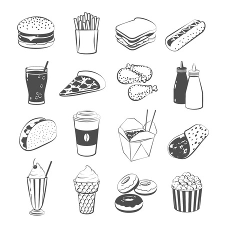 Set of cartoon fast food: hamburger, french fries, sandwich, hot dog, pizza, chicken, ketchup and mustard, taco, coffee, black and white version. Vector, isolated on transparent background.