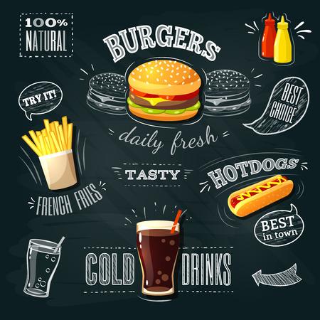 comida rapida: AD - pizarra de comida rápida de hamburguesas, patatas fritas y hot dog. Ilustración del vector,