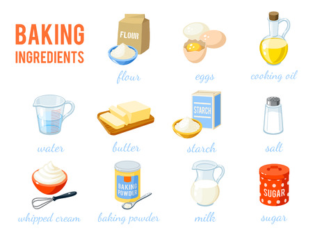 Set of cartoon food: baking ingredients - flour, eggs, oil, water, butter, starch, salt, whipped cream, baking powder, milk, sugar. Vector illustration, isolated on white, Ilustracja