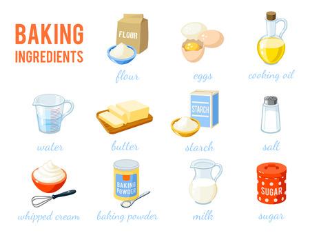 Zestaw cartoon żywności: pieczenia składników - mąki, jajka, olej, woda, masło, skrobia, sól, bita śmietana, proszek do pieczenia, mleko, cukier. Ilustracja wektora, samodzielnie na białym tle,