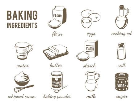 flour: Conjunto de blanco y negro, lineart iconos de los alimentos: bicarbonato de ingredientes - harina, huevos, aceite, agua, mantequilla, almidón, sal, crema batida, polvo de hornear, leche, azúcar. Vector, aislado en el fondo transparente. Vectores