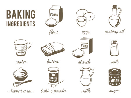 Set of monochrome, lineart food icons: baking ingredients - flour, eggs, oil, water, butter, starch, salt, whipped cream, baking powder, milk, sugar. Vector, isolated on transparent background.