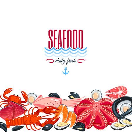 Achtergrond met cartoon voedsel: zeevruchten - tonijn, zalm, mosselen, krab, kreeft. Vector illustratie,