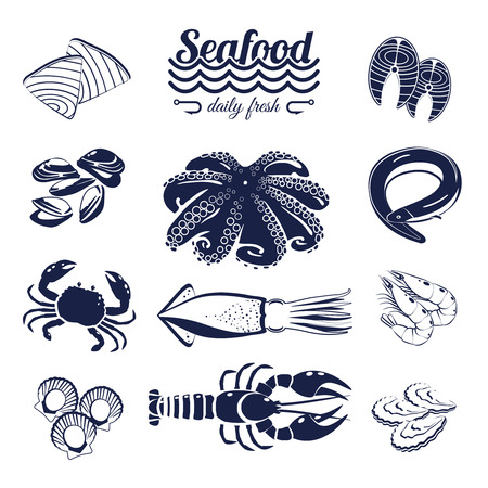 forth: Set of monotone cartoon sea food elements - tuna, salmon, clams, crab, lobster and so forth. Vector illustration, isolated on transparent background, Illustration
